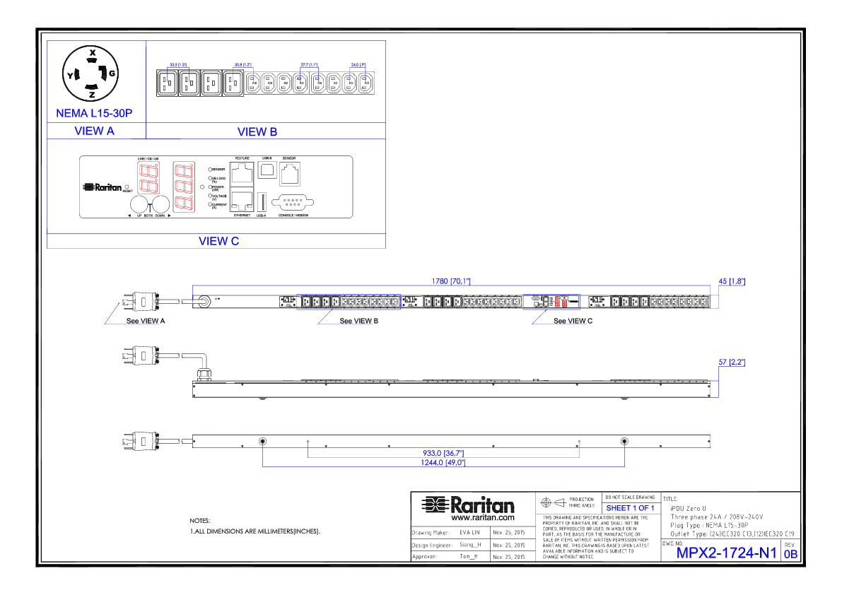 L15 30 Wiring Three Phase Diagram 3 Motor Connection L16 Rack Pdu Px2 1724 N1c5 Product Selector Raritan Plug