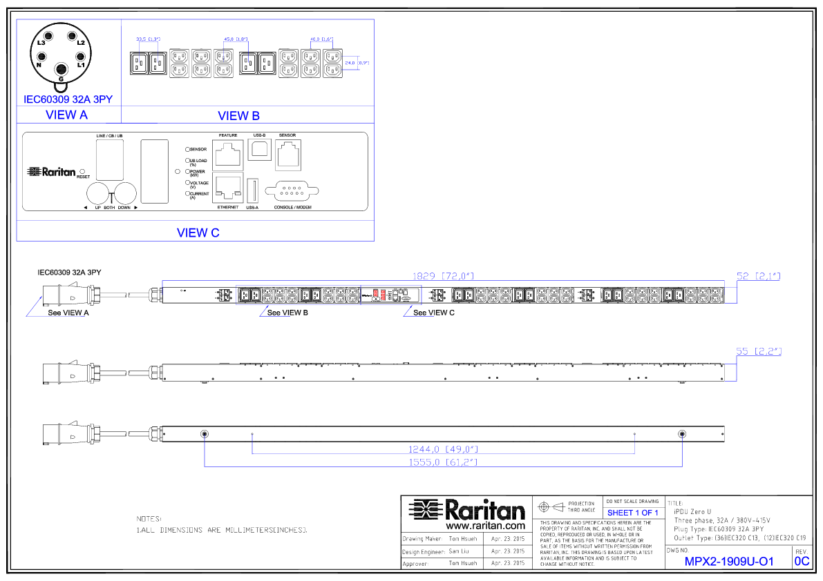 Raritan PX2-5956XV 48-Outlet Rack Power Distribution Unit